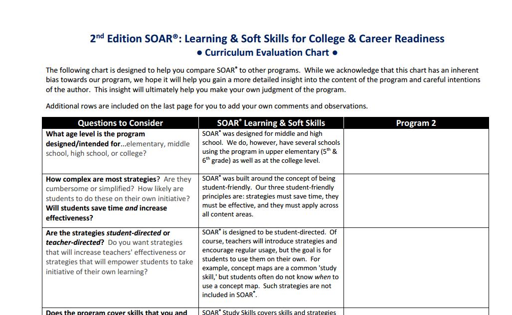 soar study skills curriculum evaluation chart