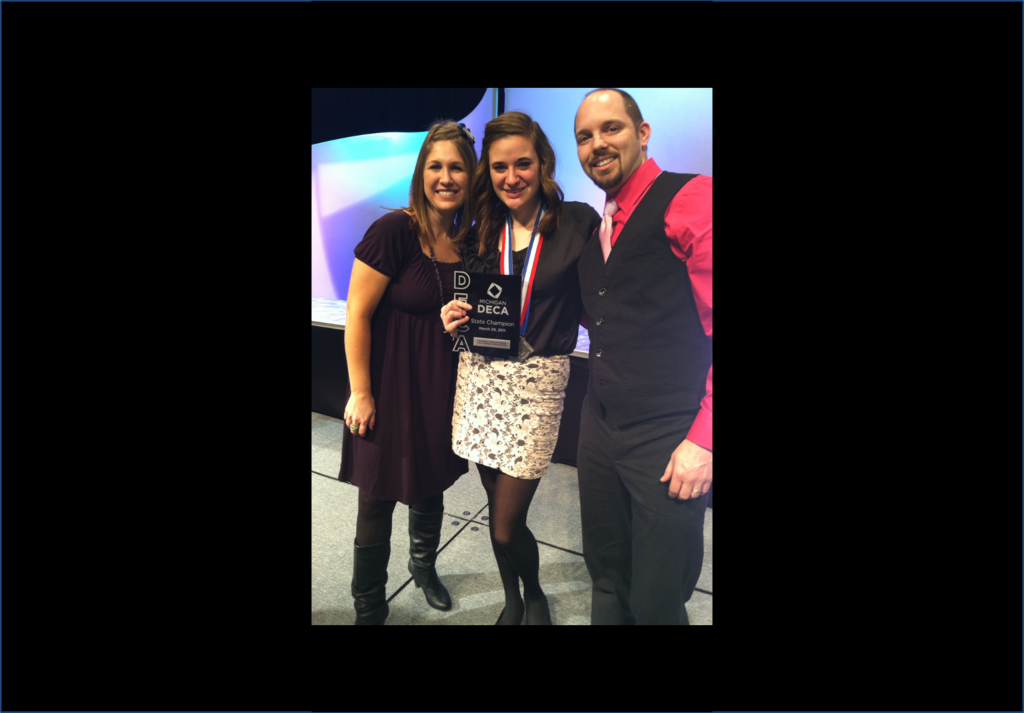 "Meet Jessie, our new summer intern! She's pictured here with her two favorite high school teachers (""Ms. D,"" and my husband, Brian), after winning the State Championship for DECA, a student marketing association. April, 2011."