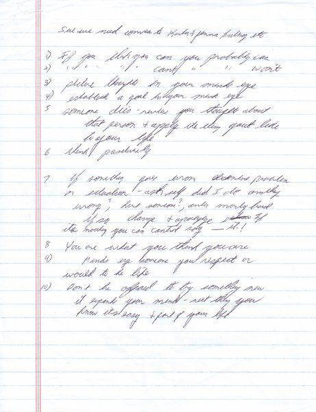Dad Kruger's Handwritten Notes